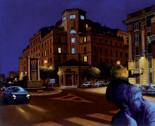 Sergio Ceccotti Una piazza, una sera 2010 peinture painting