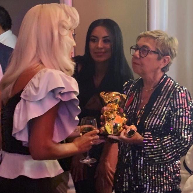 Lady Gaga with French Sculptor Cévé