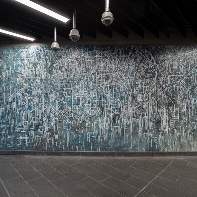 The Arches of Old Penn Station Return in Diana Al-Hadid's Subway Mosaics