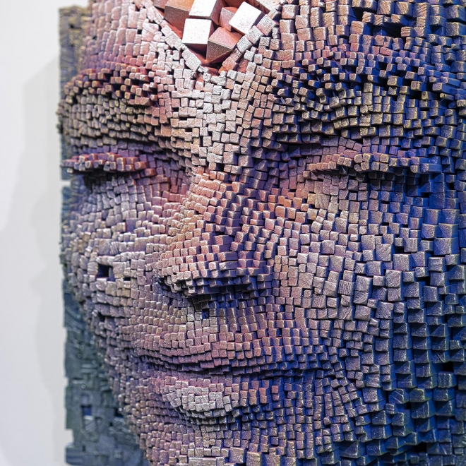 Meditative Portraits Made From Wooden Sticks by Gil Bruvel