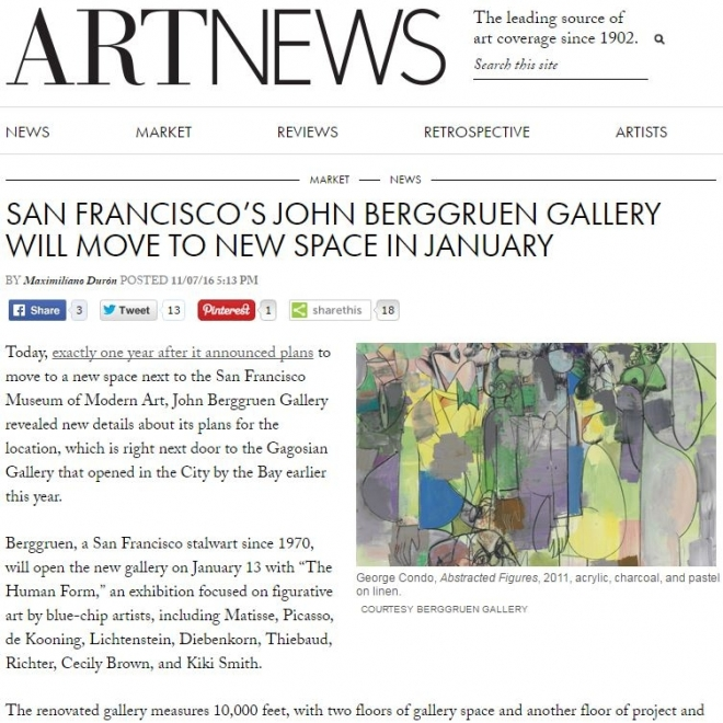 SAN FRANCISCO'S BERGGRUEN GALLERY WILL MOVE TO NEW SPACE IN JANUARY