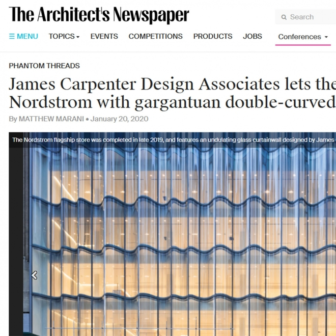 NORDSTROM'S WAVE WALL FEATURED IN ARCHITECT'S NEWSPAPER