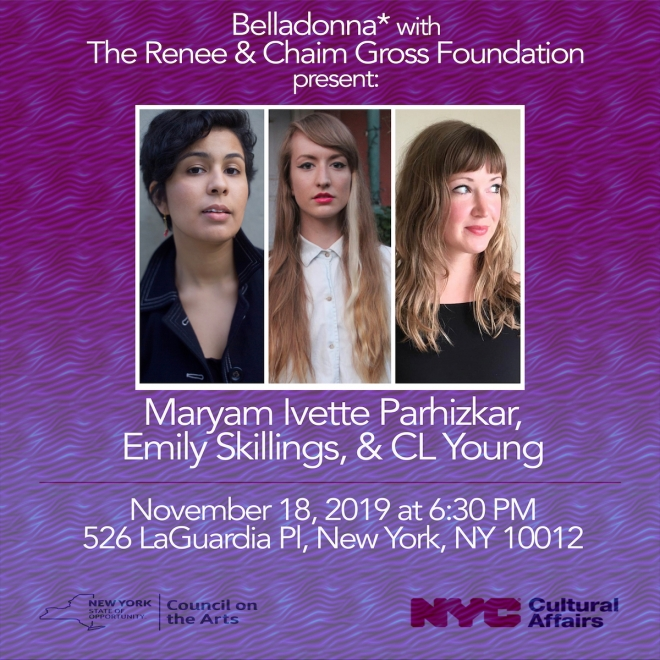 Pamphlet showing three young adults in a white box with vertical lines between them. The background is a gradient from dark to light purple with a wave like design. Above and below the photo of the people is geometric white lettering announcing event with details
