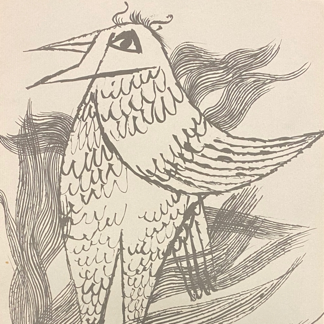 Lithograph of a standing bird, beak agape, and surrounded by collections of flowing lines, mimicking surrounding flora.