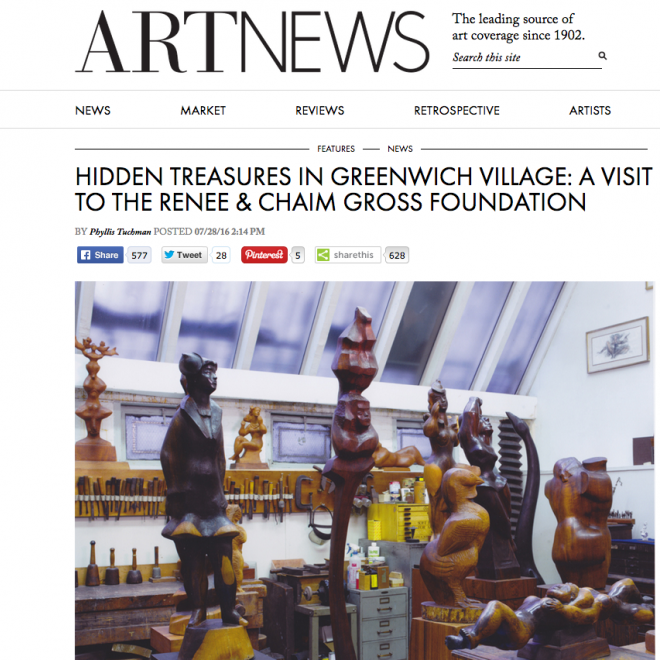 """Photo of a white art studio with high ceilings and large skylight windows. Sculptures of majority humanesque shape in various shades of light and brown woods are packed in in front of us. There is a heading in black type above the photo, """"Hidden Treasures in Greenwich Village: A Visit to the Renee and Chaim Gross Foundation."""""""