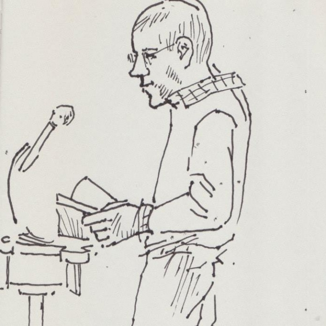 Thin line black ink profile drawing of an adult man standing at a podium holding a book.