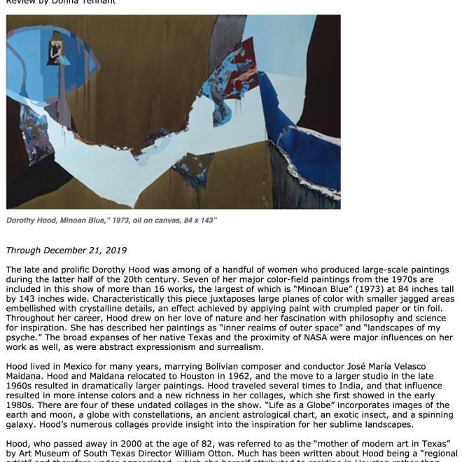 "Visual Art Source Editorial Feature of ""Dorothy Hood: Illuminated Earth"""