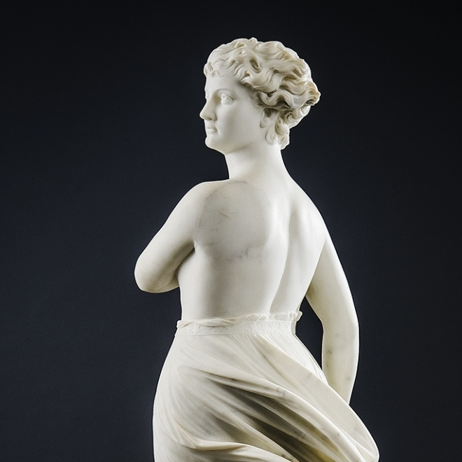 "THOMAS RIDGEWAY GOULD (1818–1881), ""The West Wind,"" 1874. Marble, 48 in. high. Detail."