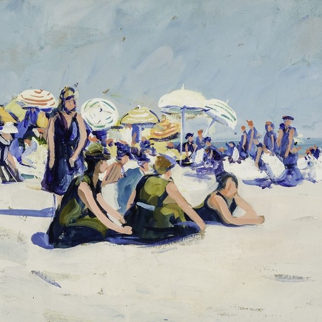 "JANE PETERSON (1876–1965), ""The Beach, Gloucester,"" about 1915–16. Gouache on paper, 18 x 24 in. Detail."