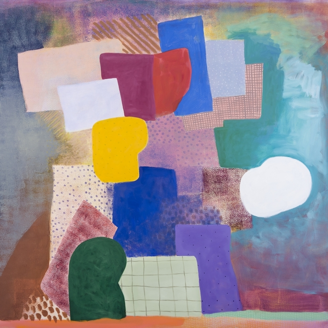 a colorful abstract painting by Robert Natkin of different shapes and patterns arranged together like a still life