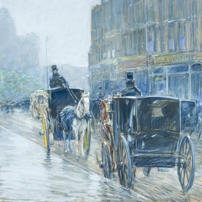 """Childe Hassam (1859–1935), """"A Wet Day on Broadway,"""" 1891. Pastel on fine-weave canvas, 18 x 21 7/8 in. (detail)."""