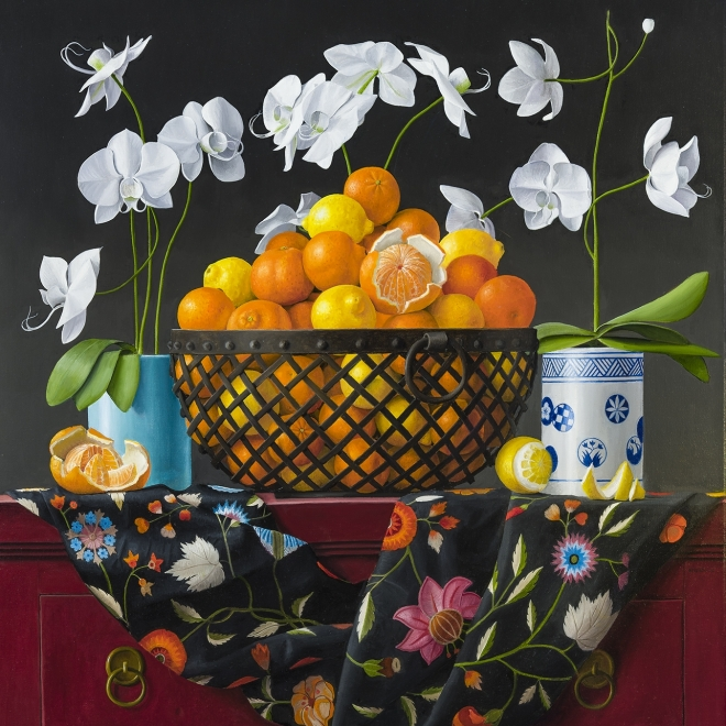 a painting of oranges in a metal basket surrounded by white flowers