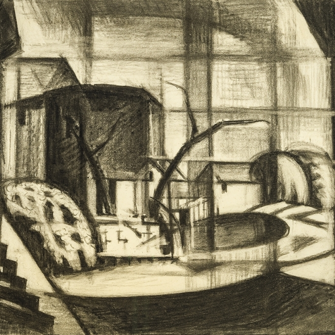"OSCAR FLORIANUS BLUEMNER (1867–1938), ""Study for 'Old Canal, Red and Blue (Rockaway, Morris Canal)',"" 1916. Charcoal on paper, 14 x 20 in. Detail."