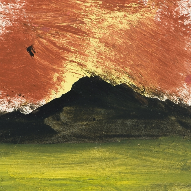 a green field leads to black mountains with a red and yellow sky in this small painting by self-taught artist, Frank Walter