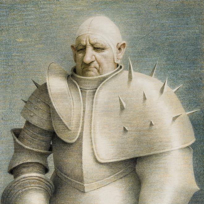 "ROBERT VICKREY (1926–2011), ""Clown in Armor, 1961. Egg tempera on gessoed panel, 33 1/2 x 23 7/8 in. Detail."