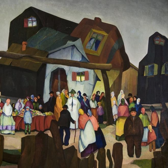 WILLIAM S. SCHWARTZ (1896–1977), Old Country Bazaar, 1926. Oil on canvas, 36 x 42 in. (detail).