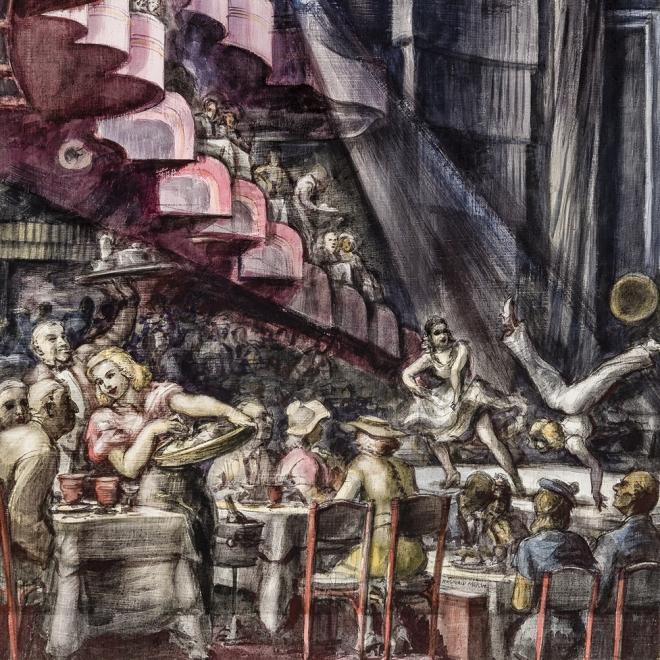 REGINALD MARSH (1898–1954), Cabaret, 1938. Tempera and pencil on gessoed panel, 35 3/4 x 23 3/4 in. (detail)