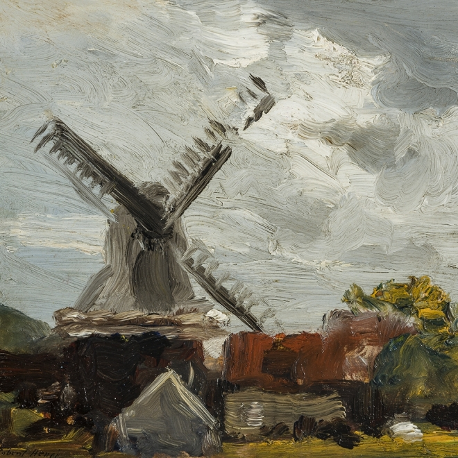 ROBERT HENRI (1865–1929)  Windmill near Edam  Oil on wood panel, 8 x 10 in. Signed (at lower left): Robert Henri (detail).