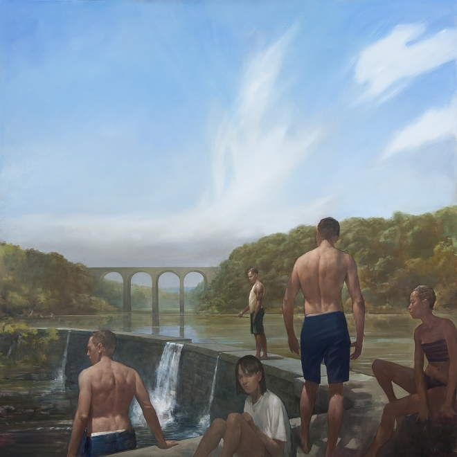men and women get ready to swim by a dam in this painting by Randall Exon