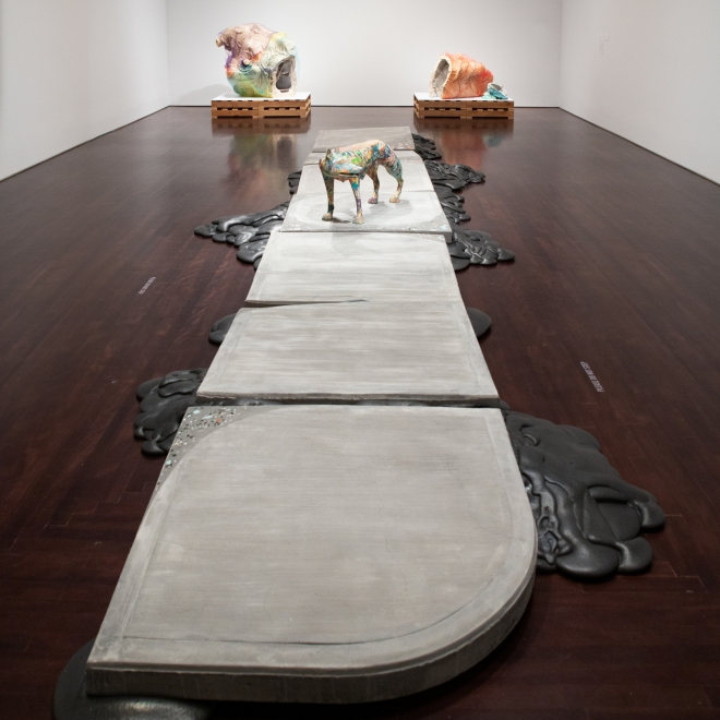 an installation shot of Lily Cox-Richard's work in the Blanton Museum of Art in Texas