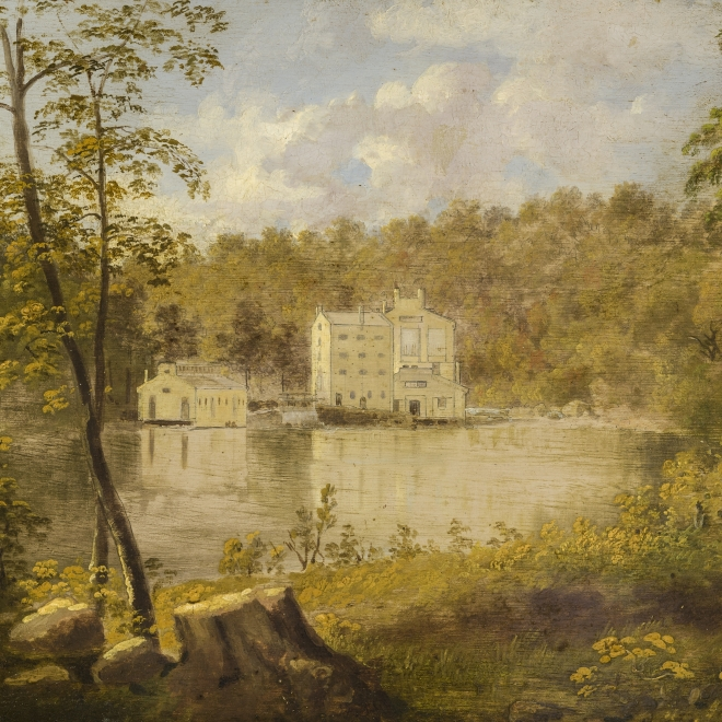 "THOMAS DOUGHTY (1791–1856), ""Gilpin's Mill on the Brandywine,"" about 1830–27. Oil on board, 7 3/4 x 11 3/16 in. (detail)."