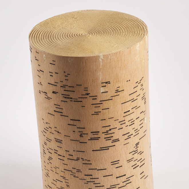 a sculpture by Maria Elena Gonzalez where a stump looks like a player piano roll and a record simultaneously