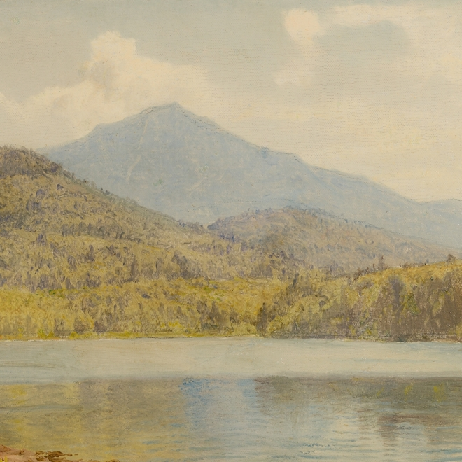 """WILLIAM TROST RICHARDS (1833–1905), """"Whiteface and the Eagles' Eyrie, Lake Placid,"""" 1904. Oil on canvasboard, 9 1/2 x 15 1/2 in. (detail.)"""