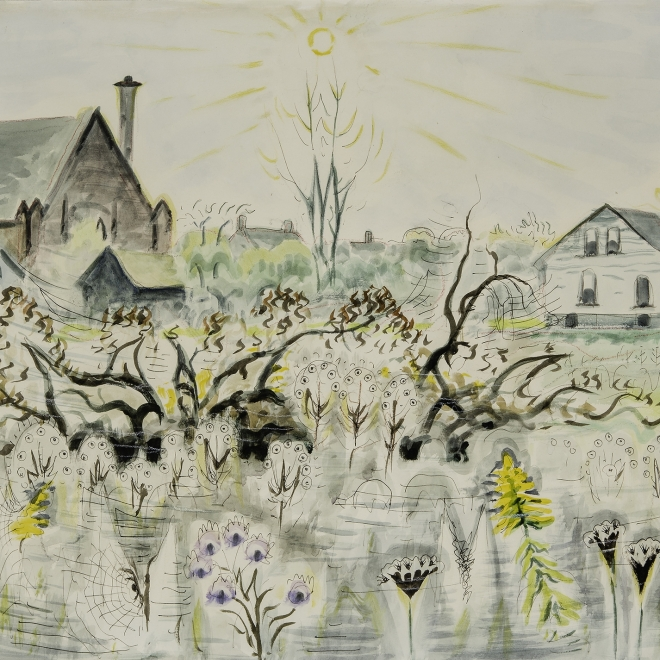"""CHARLES EPHRAIM BURCHFIELD (1893–1967), """"Cobwebs in Autumn,"""" 1949. Watercolor on paper, 18 x 25 in. (detail)."""