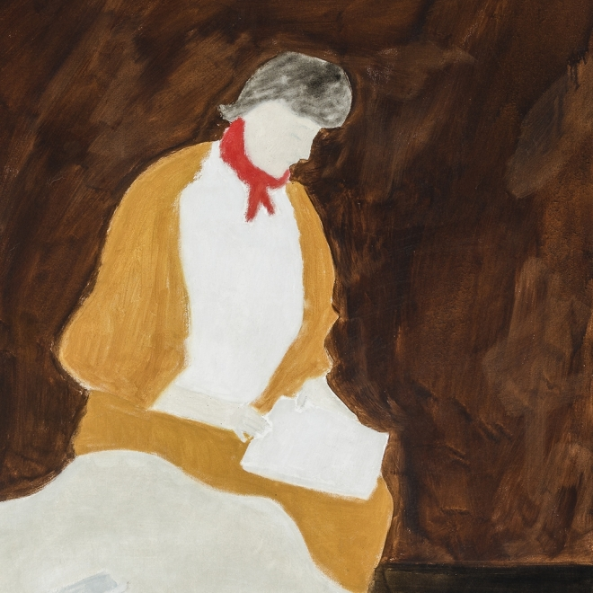 MILTON AVERY (1885–1965), Red Kerchief, 1960. Oil on canvas, 40 x 32 in. (detail)