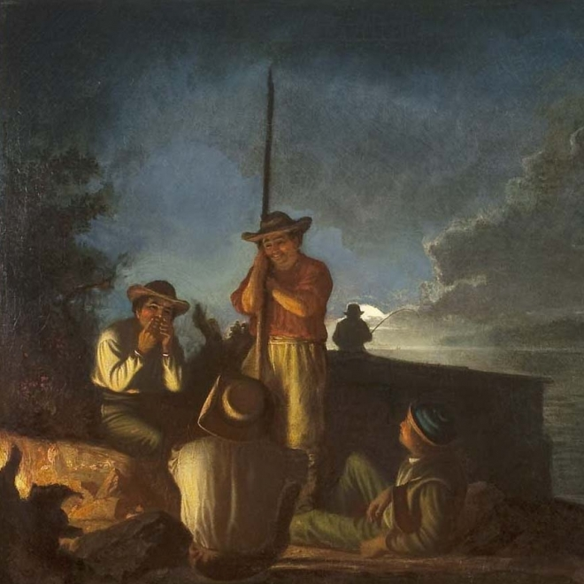 "GEORGE CALEB BINGHAM (1811–1879), ""Woodboatmen on a River [Western Boatmen Ashore by Night],"" 1854. Oil on canvas, 29 x 36 in. (detail)."