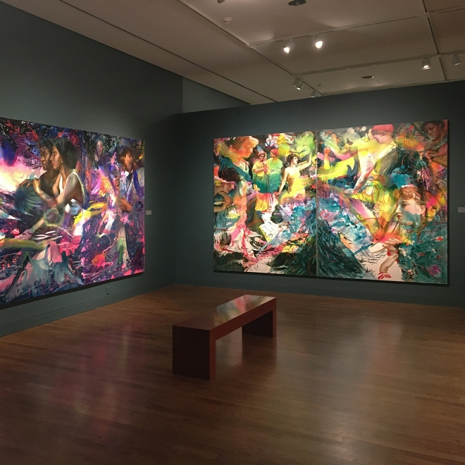 "installation view of Angela Fraleigh's solo exhibition, ""Sound the Deep Waters"", at the Delaware Art Museum"