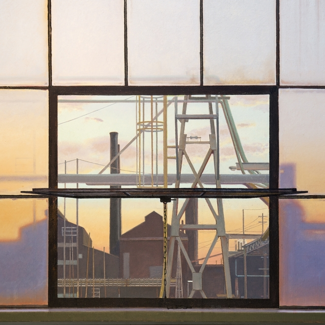 a painting of an industrial landscape at twilight seen through factory windows by John Moore