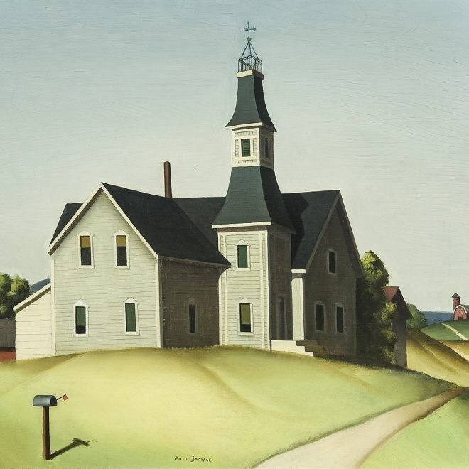 PAUL SAMPLE (1896–1974), Church in Evansville (Schoolhouse), 1934. Oil on canvas, 24 x 28 in.
