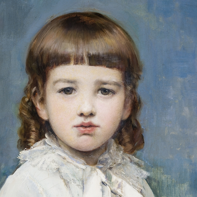 RAIMUNDO DE MADRAZO Y GARRETA (1841–1920), Portrait of Gertrude Vanderbilt, 1880. Oil on canvas, 58 3/8 x 39 1/4 in. (detail).