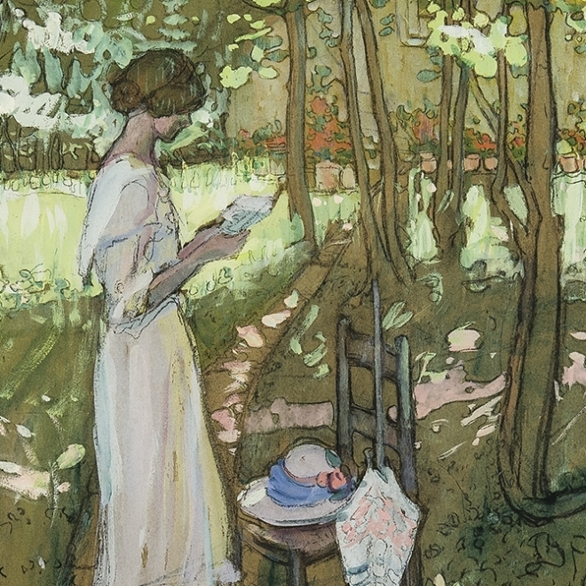 JANE PETERSON (1876–1965), The Love Letter, 1913. Gouache and charcoal on paper, 24 x 18 in. (detail).