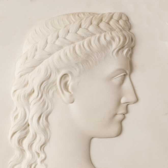 MARGARET FOLEY (1827–1877), Trasteverina, 1872. Marble, oval bas relief, 24 x 18 in. (detail).