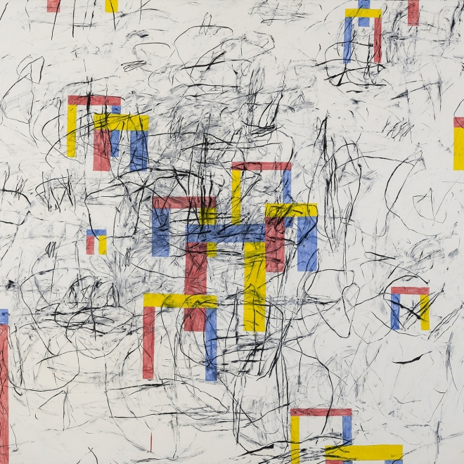 a gestural abstraction by Louisa Chase of blue, yellow and red house-forms on a white with gray streaks background