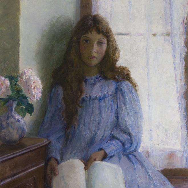 """LILLA CABOT PERRY (1848–1933), """"Un Jour de Pluie,"""" 1896. Oil on canvas, 55 x 29 3/4 in. (detail)"""