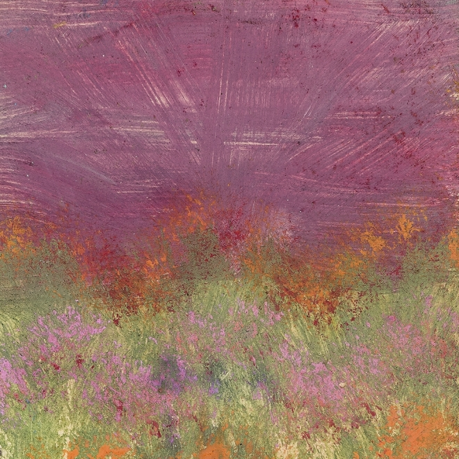 a landscape painting by Frank Walter of flowers in a field with a pink sky