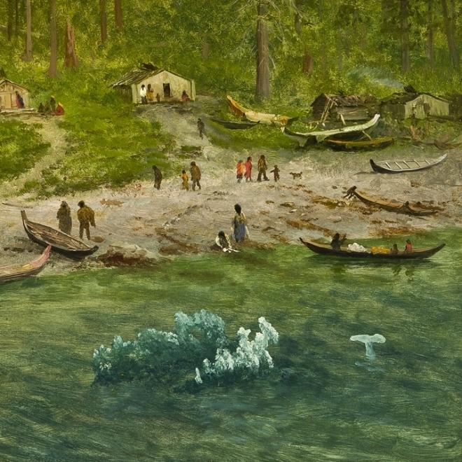 "ALBERT BIERSTADT (1830–1902), ""Indian Encampment, Alaska, about 1889. Oil on paper mounted on canvas, 13 x 19 in. (detail)."