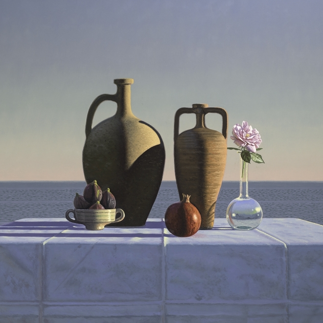a still life painting of a pomegranate, roses and on a table by the sea by David Ligare