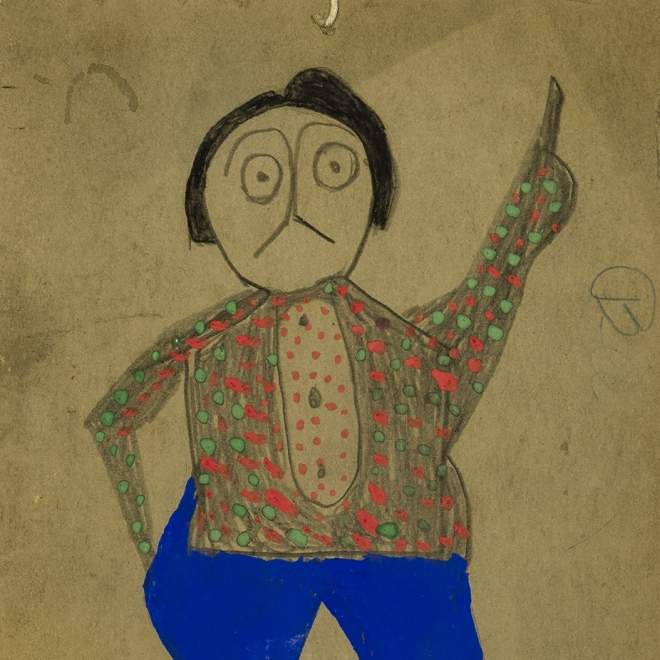 a man with blue pants and a red and green spotted shirt by Self-taught artist Bill Traylor