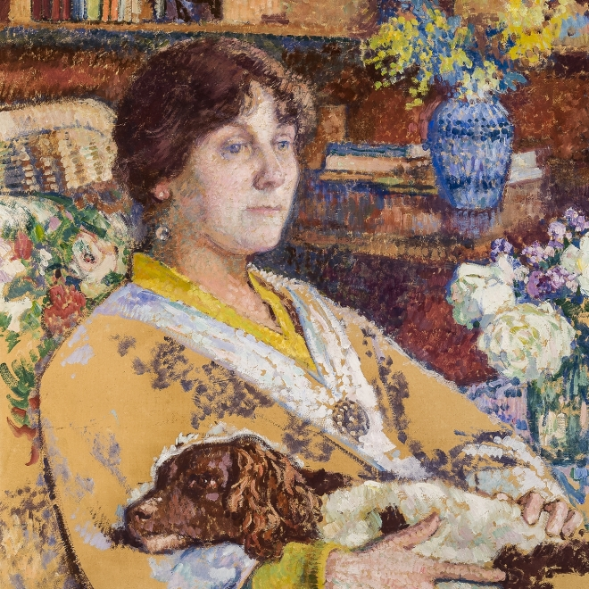 THÉO VAN RYSSELBERGHE *1862–1926), Portrait of Laure Flé, 1913. Oil on paper board, 27 x 23 3/4 in. (detail).