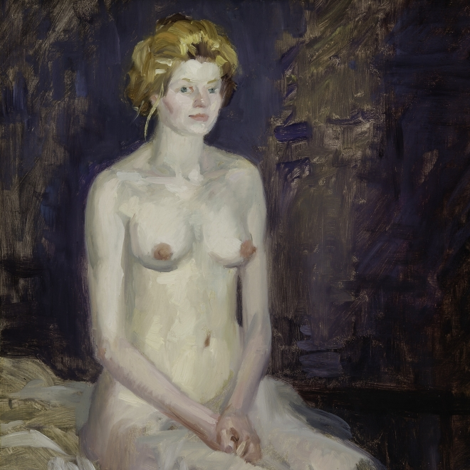 """JOHN SLOAN (1871–1951), """"Blonde Seated on Edge of Couch,"""" 1915. Oil on canvas, 24 x 20 in. Detail."""