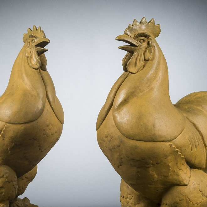 WHEELER WILLIAMS (1897–1972), Pair Gatepost Roosters, 1932. Terra cotta, 34 in. high (detail).