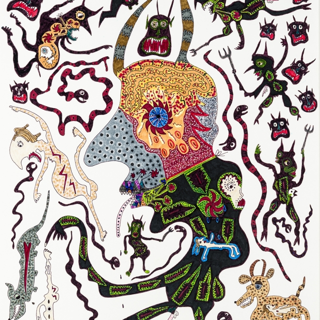 a fantastical drawing of monsters and animals by self-taught artist Jeanne Brousseau