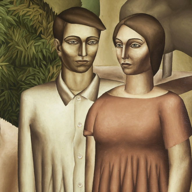 """EVERETT GEE JACKSON (1900–1995), """"Man and Woman with Acacia Tree,"""" 1932. Oil on canvas, 19 3/4 x 27 3/4 in. (detail)."""