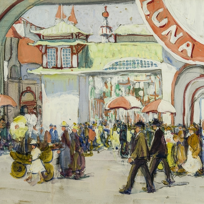 """JANE PETERSON (1876–1965), """"Luna Park,"""" c. 1918  Gouache and charcoal on paper, 18 x 24 in. (detail)."""