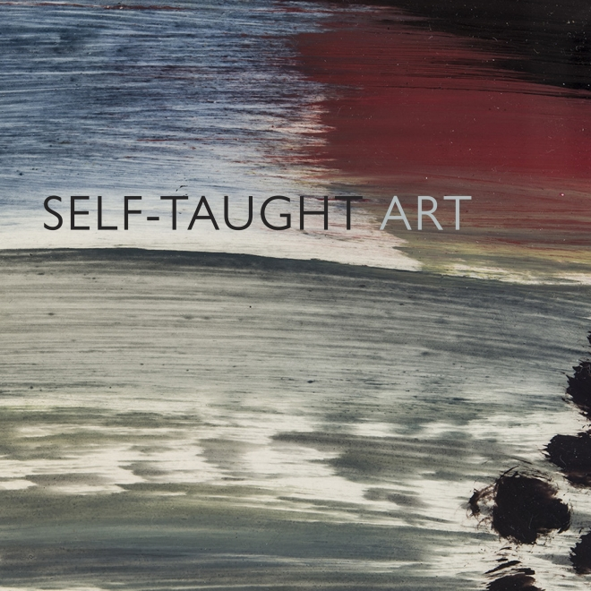 """Cover detail of """"Self-taught Art"""" e-catalogue released on May 11, 2020. Title """"Self-taught Art"""" is superimposed over a detail of Frank Walter (1926–2009), """"View of Coast with Grey Clouds."""" Oil on photographic paper, 8 x 10 in."""