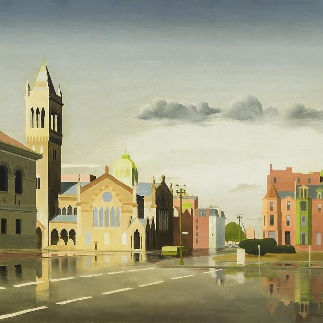 "THOMAS FRANSIOLI (1906–1997), ""Copley Square, Boston,"" 1959–61. Oil on canvas, 24 x 30 in. (detail)."